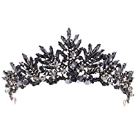 Demiawaking Elegant Crystal Wedding Prom Bridal Crown Tiara Headband Bride Hair Accessories Party Decor (Black)