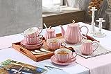 LIERAS Set da tè in porcellana Set da caffè Set British Royal Series,226,8 gram tazze e piattini per 6 persone, con teiera zuccheriera crema brocca cucchiaini e colino per tè/caffè(Young Pink)