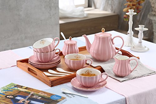 Lieras Porcelain Tea Sets British Royal Series, 8 OZ Cups& Saucer Service for 6, with Teapot Sugar Bowl Cream Pitcher Teaspoons and Tea Strainer for Tea/Coffee, Pukka Home (Young Pink)