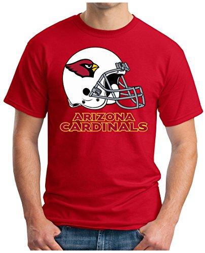 OM3 Arizona Cardinals - T-Shirt | Herren | American Football Shirt | Super Bowl 52 LII | NFL | L, Rot (Shirt Classic Arizona)
