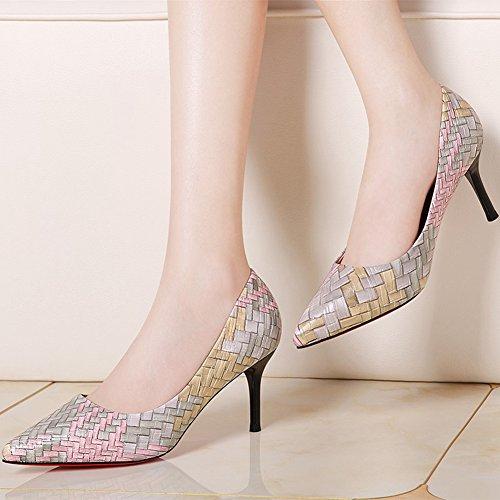 066451d13d07e1 Damen Pumps Spitz Zehen Stilettos Slip On KittenHeel Modisch Elegant Schuhe  Pink
