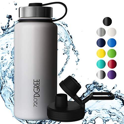 720°DGREE Edelstahl Trinkflasche noLimit 950 ml / 1l - Neuartige Thermosflasche +Gratis Sportdeckel - Auslaufsichere Isolierflasche - Perfekte Outdoor Sportflasche für Kinder