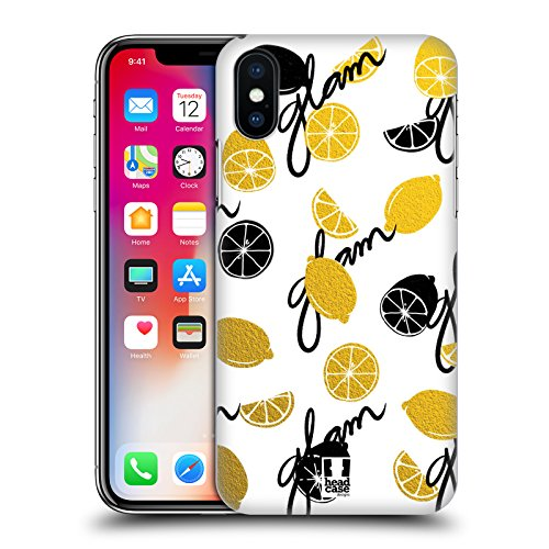 Head Case Designs Pera Frutta Alla Moda Cover Retro Rigida per Apple iPhone X Limone