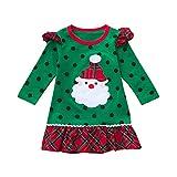 Babykleider,Sannysis Baby Mädchen Festlich Kleid Kleinkind Weihnachten Rüschen Langarm Cartoon Print Dot Kleid Kleidung Weihnachtskostüm