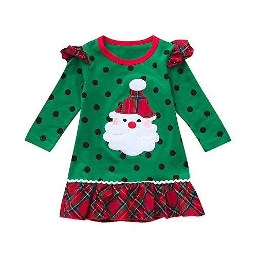 WEXCV Säuglings Baby Mädchen Winter Warm Niedlich Lange Ärmel Weihnachten Weihnachtsmann Cartoon Muster Kleid Fashion Babies Weihnachten-Kostüm 0.5-5 Jahre