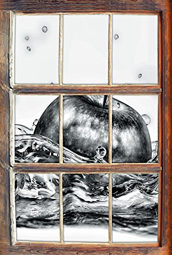 Stil.Zeit Monocrome, Grüner Apfel fällt ins Wasser Fenster im 3D-Look, Wand- oder Türaufkleber Format: 62x42cm, Wandsticker, Wandtattoo, Wanddekoration (Kiwi-erdbeer-vitamin Wasser)