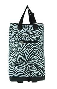 Hoppa Wheeled Hand Luggage Cabin Bag Folding Flight Bag on Wheels RYANAIR (zebra)