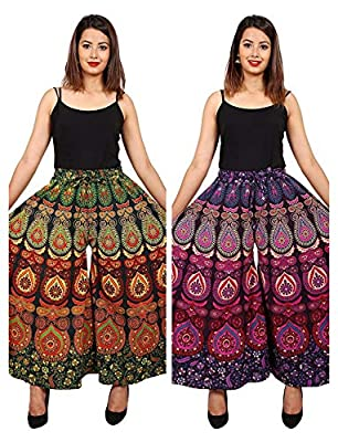 Trapti Jaipuri Cotton Printed Palazzo Pants for Women's | Traditional & Stylish Combo Palazzos for Girls (Free Size)