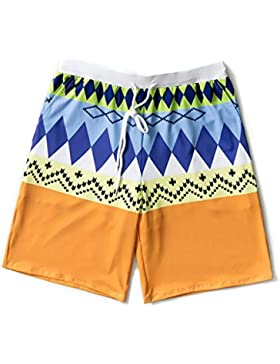 LINGZHIGAN Pantalones de playa Hombres sueltos de gran tamaño Flores de secado rápido Pantalones cortos Azul y...