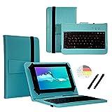 Deutsche Qwertz Tastatur für Alcatel OneTouch Pixi 3 (10) Tablet PC Etui Schutz Hülle mit Touch Pen - Tastatur 10.1 Zoll Türkis