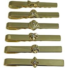 Pasadores corbata set 6 dorados alfiler corbata pedrería brillante pinza caballero accesorios joyas