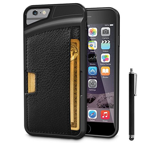 VComp-Shop® Handy Schutzhülle mit Kartenfach für Apple iPhone 6/ 6s + Großer Eingabestift - SCHWARZ SCHWARZ + Großer Eingabestift
