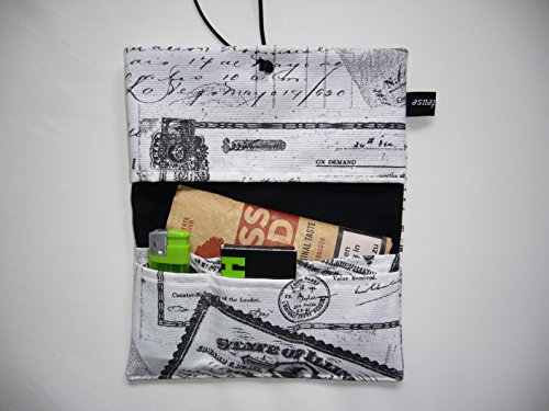 Büroteuse Tabaktasche / Drehertasche im schwarzem old Postcard-Design, jede Tasche ein Unikat! Old Postcard schwarz