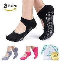 Non Slip Yoga Socks for Women, Anti-skid Pilates Barre Bikram Studio Socks with Grips (Black Gray Rose)
