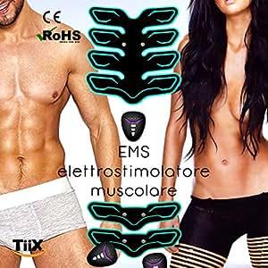 TiiX Elettrostimolatore EMS Muscolare Professionale X Power Addominali Elettrostimolatore per Addominali ABS/Glutei/Addome/Braccia/Gambe 12 Livelli di Intensità Senza Fili Versione Premium Uomo/Donna