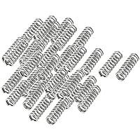 sourcingmap® 35 Stücke 8 mm x 25 mm Metall Druckfeder 1,2 mm Draht Durchmesser Silber Ton