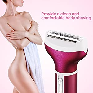 Bikini Trimmer, 4 in 1 Women Shaver Eyebrow Trimmer Nose Trimmer Rechargeable Bikini Grooming Kit Mini Portable Design Women Groomer Kit for Bikini Area/Armpit / Arm/Leg (Red)