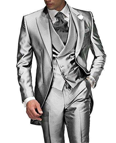 Suit Me Tailored Herren 3-Teilig Anzug Fuer Hochzeiten Party Smoking Anzug Sakko,Weste,Hose Silber XL