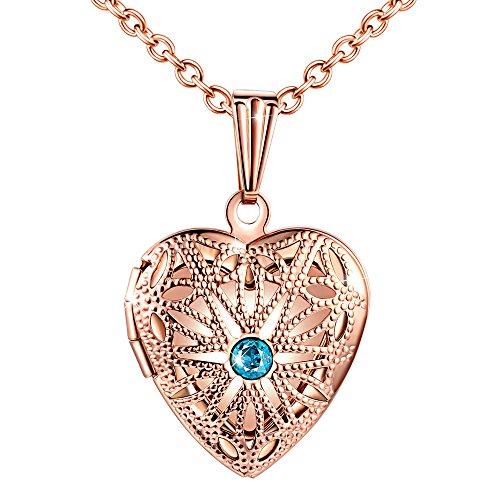 MicLee Damen Halskette Edelstahl Foto Medaillon Photo Bilder Amulett Blau Zirkonia Rosegold Anhänger Herzkette mit Geschenkbox Grußkarte