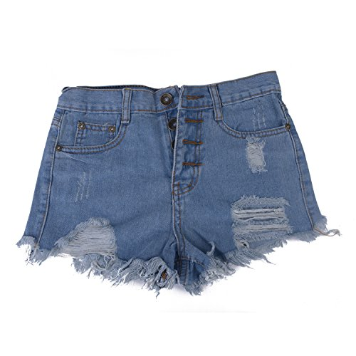 Best-Preis Damen Jeans Shorts Hot Pants Mädchen Destroyed-Look Used-Look kurz Mini Sommerhose (Button-fly Baumwolle Rock)