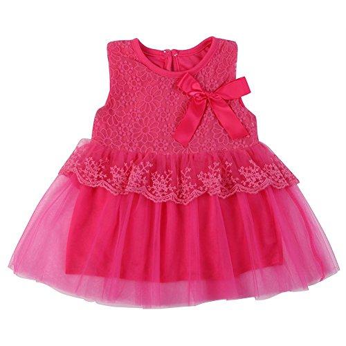 Brightup Kinder Mädchen Prinzessin Party Hochzeit Spitze Kleid Blume Bowknot Tutu Rock, Rose Red, 12-18 Monate (Pflaume T-shirt Top)