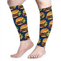 hdyefe Cheeseburger Unisex Calf Compression Sleeve - Leg Compression Socks for Running, Shin Splint, Calf Pain Relief, Leg Support Sleeve