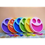 Kieana Multicolor Cute Big Smiley Plates With Fork And Spoon Return Gift Birthday Gifts Online (Pack Of 15)
