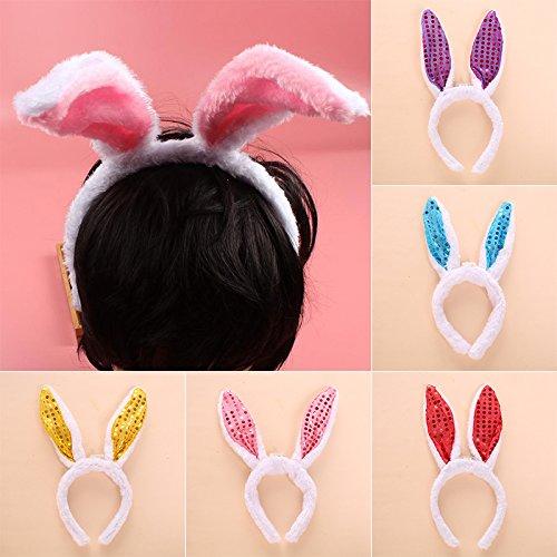 Rosepoem Schnell verkaufend Blitzlicht Pailletten-Kaninchen-Häschen Ohren Kopfband Haarschmuck für Ostern Halloween-Weihnachtsfest-Kostüm Ohren Kopfband Haarschmuck für Ostern Halloween-Weihnachtsfest
