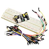 #7: XCLUMA 65 Pcs MALE TO MALE JUMPER WIRES+MB102 BREADBOARD 830P+MB102 POWER SUPPLY