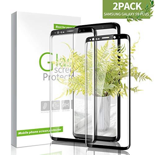 Youer Galaxy S9 Plus Panzerglas Schutzfolie, [2 stück] 9H Härte Premium Gehärtetem Glas Displayschutzfolie, Anti-Kratzen, Anti-Öl, Anti-Bläschen, für Samsung Galaxy S9 Plus - Schwarz