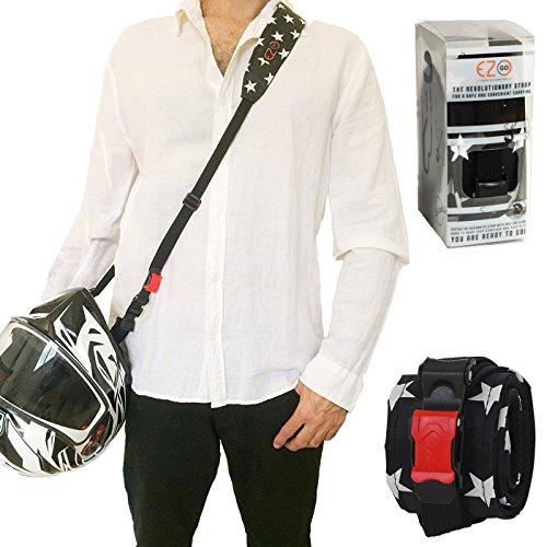Cinturino per casco da moto - Potrai avere le mani libere. Accessorio per casco pratico e leggero invece della solita borsa per il casco. Regalo perfetto per uomini e donne. Stelle Bianche. EZ-GO