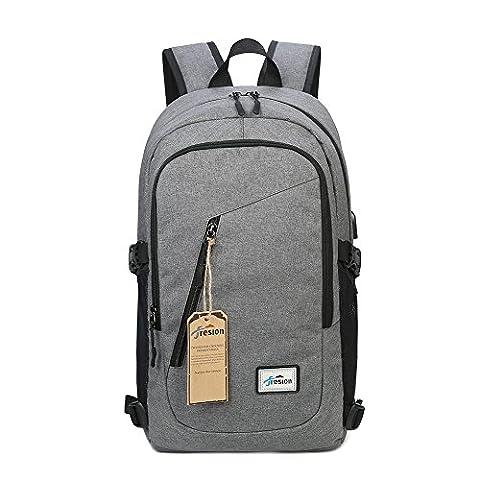 Fresion Laptop Tasche Damen Herren Notebook Business Rucksack mit USB Kabel und Anschluss für bis zu 15 Zoll Stylisch Oxford Rucksäcke Gepolstert Daypacks für Arbeit Schul Outdoor (Herren Rucksäcke)