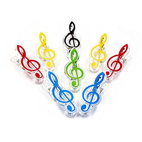 Ya Jin 8pcs Candy Couleur Thème musical Clip romantique Note de musique Piano livre Clip (couleur aléatoire) High Notes