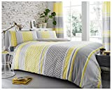 Gaveno Cavailia Luxury CHARTER STRIPE Bed Set with Duvet Cover and Pillow Case, Polyester-Cotton, Mustard, Double
