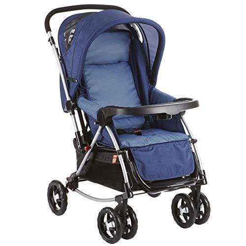 Passeggino Carrozzina 2 in 1 Bambino da 0-36 Mesi Ruote Antiurto Passeggino Pieghevole Grigio con Parapioggia Culla per Neonati,Blue