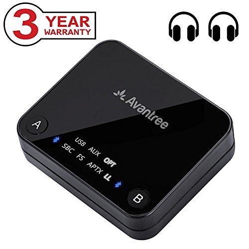Avantree Bluetooth 4.2 Transmitter Sender, Digital Optical TOSLINK, aptX Low Latency für 2 Kopfhörer, RCA, 3.5mm Wireless Audio Adapter für TV, LED Anzeigen - Audikast [3 Jahre Garantie] (Wireless Dual-kopfhörer)