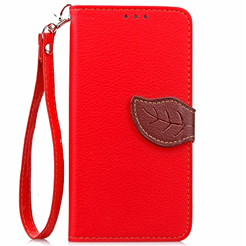 [A4E] Handyhülle passend für LG G5 Kunstleder Tasche, Flip Cover, seitlicher Magnetverschluss, Standfuß, Kreditkartenfächer, Handschlaufe, mit floralem Blatt Muster (rot, braun)