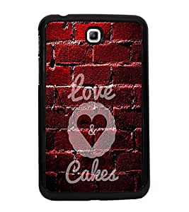 Fuson Premium 2D Back Case Cover Love cakes With White Background Degined For Samsung Galaxy Tab 3 T211 P3200