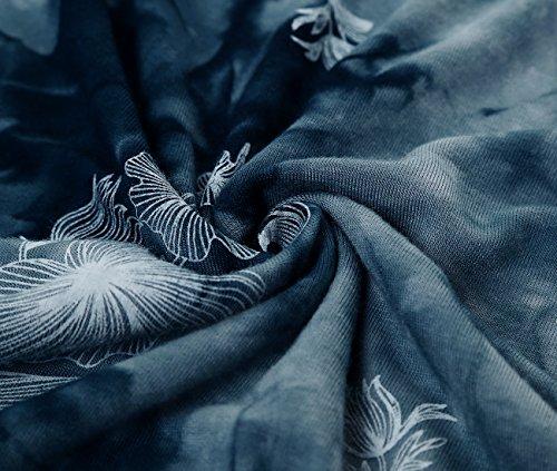 DJT Damen Langarmshirt Asymmetrisch T-Shirt Stretch Longshirt # D156T17 Blau-Blumen