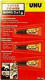 UHU® Sekundenkleber - 3 x 1g Super Power Minis in Tuben - Extrem schnell und stark (Kleber Klebstoff Spezialkleber)