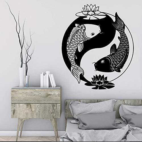 nkfrjz Wandtattoo Chinesischen Stil Vinyl Aufkleber Fisch Tai Chi Goldfisch Zen Oriental Lotus Philosophie Schlafzimmer Wohnzimmer Dekoration 57X68 cm -