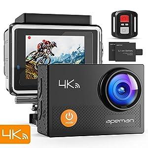 APEMAN Action Cam 4K WiFi Camera 16MP – Ultra Full HD Unterwasser Kamera Helmkamera Wasserdicht mit 2.4G Fernbedienung 2 verbesserten Akkus und Montage Zubehör Kit