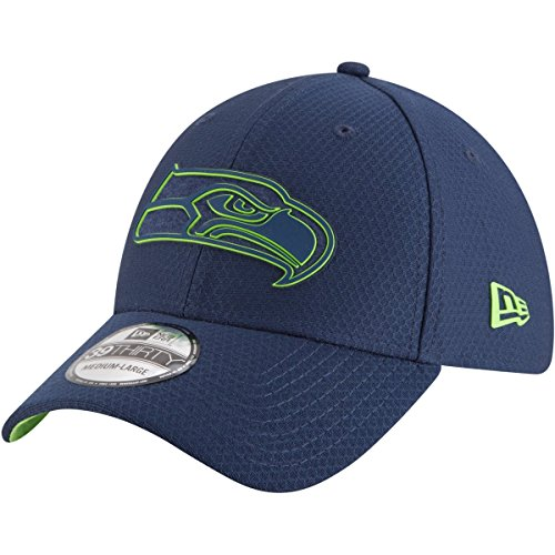 New Era NFL Seattle Seahawks Official 2018 Training 39Thirty Stretch Cap - Grau Größe L-XL, Farbe Rot -