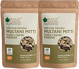 BLISS OF EARTH 100% Pure Multani Mitti Powder, Pack of 2 (100g Each)