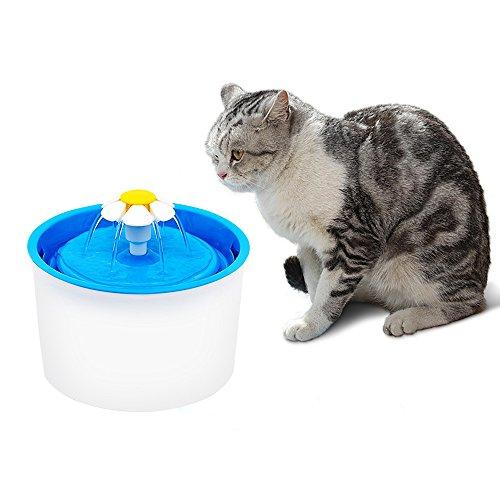 Fypo 1.6L Automatischer runder Trinker für Haustiere Katzen Hunde Blüte Kreis Wasserbrunnen Silence Dispenser 3 Modi mit Aktivkohlefilter Weiß und Blau