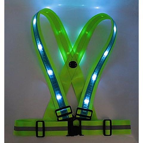 Reflectante Gear, impermeable, Led, recargable, alta visibilidad chaleco de seguridad, Vivo, luz estroboscópica intermitente, advertencia para Running, Ciclismo, color  - blue strip, tamaño one size Adult unisex adjustable