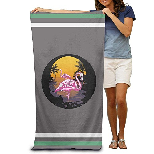 pants hats Halloween Flamingo Sunset Adults Cotton Beach Towel 31