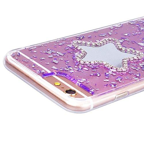 Custodia iPhone 6 Plus / iPhone 6S Plus, VemMore Case di Specchio Stella Morbido Trasparente Silicone TPU Cover con 3D Diamante Luccichio Strass Patterned Design Caso Backcase del Ultra Sottile Bling  Porpora