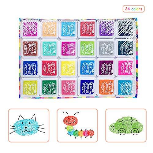 Surenhap Stempelkissen, 24 Farben Waschbar Fingerabdruck Regenbogen Stempelfarbe Set Multicolor Inkpad für Kinder DIY Stamp Pad Foam Scrapbook Malen Karte Inkpad (Malen Karte)