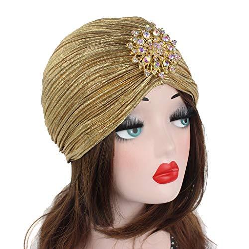 Gudelaa Principessa Femminile Indiano a Pieghe Cappello Turbante con Fiore di Cristallo Oro Chiaro